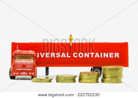 Miniature People, Business Woman Sitting Trailor Container And Stack Coins