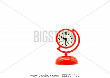 Red clock isolated on white background using as time concep