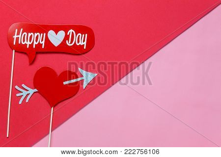 Table Top View Aerial Image Of Sign Valentine S Day Background Concept.flat Lay Photo Booth Props On