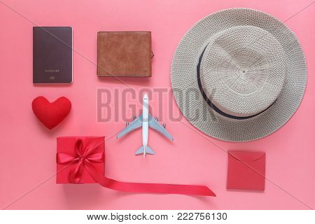 Flat Lay Image Of Accessory Clothing Man Or Women To Plan Travel In Valentines Day Background Concep