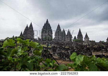 Prambanan temple in Central Java. Hindu temple from XII century preserved in a great condition.