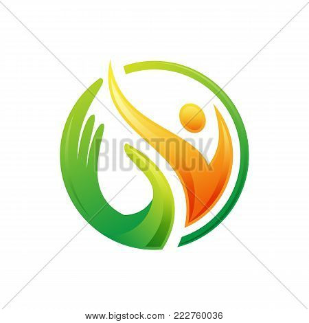 simple Human with circle character vector logo concept illustration. Abstract man figure logo. People logo