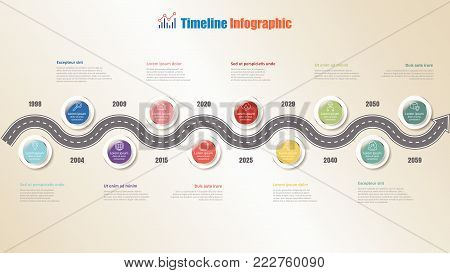 Business road map timeline infographic with 10 steps circle design for background elements diagram process technology web pages workflow digital marketing data presentation chart. Vector illustration