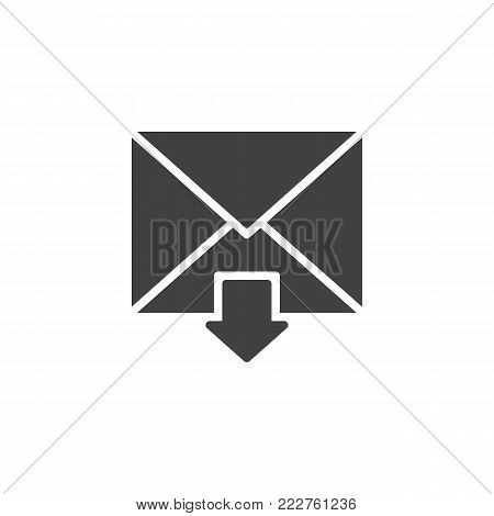 Incoming mail icon vector, filled flat sign, solid pictogram isolated on white. Inbox message symbol, logo illustration.