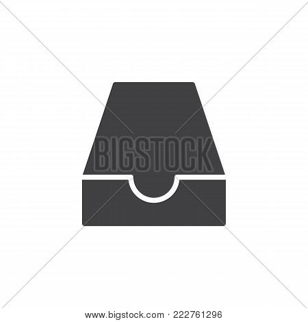Mailbox inbox icon vector, filled flat sign, solid pictogram isolated on white. Mail box symbol, logo illustration.