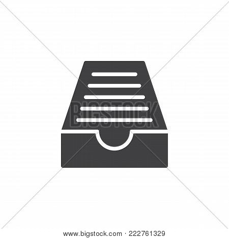 Drawer mail box icon vector, filled flat sign, solid pictogram isolated on white. Symbol, logo illustration.