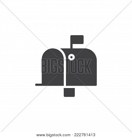 Mailbox icon vector, filled flat sign, solid pictogram isolated on white. Mail box symbol, logo illustration.