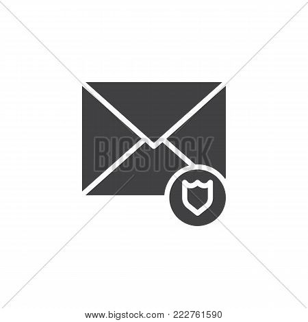 Email protection icon vector, filled flat sign, solid pictogram isolated on white. Envelope and security shield symbol, logo illustration.