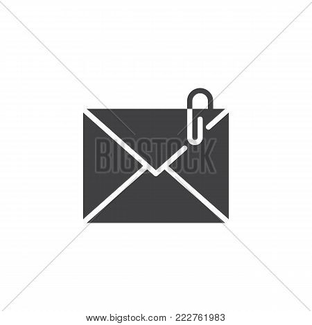 Mail attachment icon vector, filled flat sign, solid pictogram isolated on white. Envelope with paperclip symbol, logo illustration.