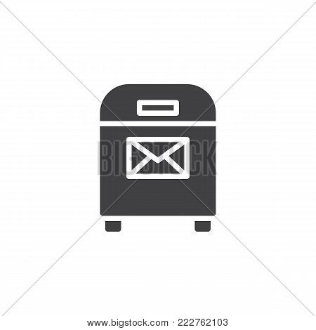 Mail box with envelope icon vector, filled flat sign, solid pictogram isolated on white. Post box with message symbol, logo illustration.