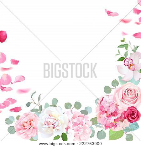 Spring floral vector round frame with peony, rose, orchid, hydrangea, camellia, petals, green plants on white. Pink and white flowers. Wedding invitation card. All elements are isolated and editable