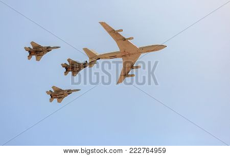 Beer-sheba, Israel - May, 02, 2017: Group Of Three F-15 Fighter With Boeing 707 Tanker