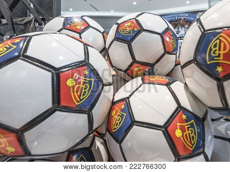 Basel, Switzerland - May 2017: Balls On Sale In The Official Fan Shop At St. Jakob-park - The Offici