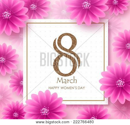 Women's day vector banner design template with march 8 text in white space with boarder and pink flowers elements in background for international women's day celebration.