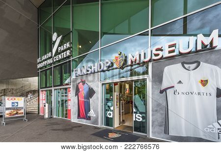 Basel, Switzerland - May 2017: At The Entrance To The Official Fan Shop At St. Jakob-park - The Offi