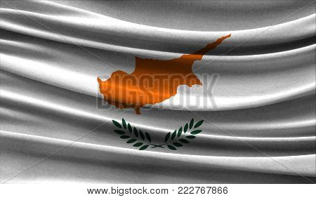 Realistic flag of Cyprus on the wavy surface of fabric. This flag can be used in design