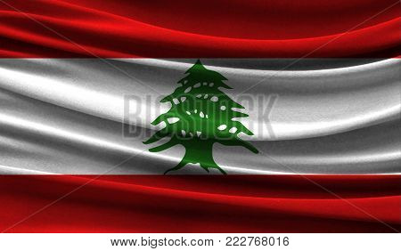 Realistic flag of Lebanon on the wavy surface of fabric. This flag can be used in design