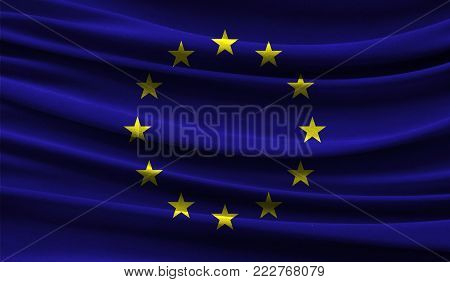 Realistic flag of European Union on the wavy surface of fabric. This flag can be used in design