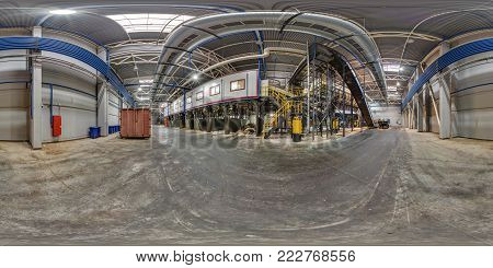 GRODNO, BELARUS - OCTOBER 10, 2017: 360 panorama view in modern waste hazardous recycling plant and storage. Full 360 by 180 degrees panorama in equirectangular spherical projection, skybox VR content