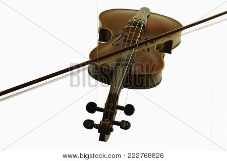 violin string instruments music old objects isolated