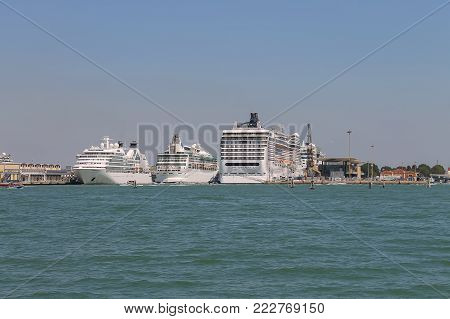 Venice, Italy - August 13, 2016: Big cruise liner ships in the Adriatic Sea