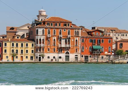 Venice, Italy - August 13, 2016: View of Venice from Giudecca Canal, Italy