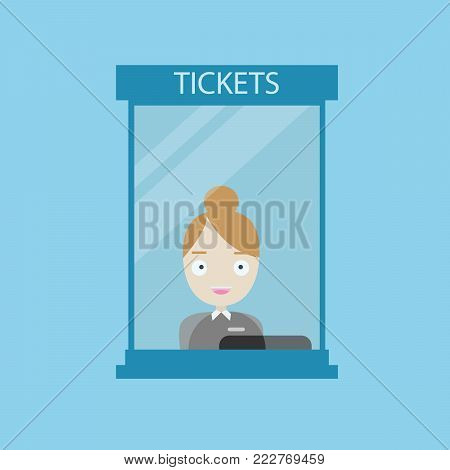 Tickets counter service. Cashier behind the counter
