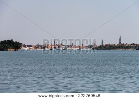 Big cruise liner ships in the Adriatic Sea, Venice, Italy