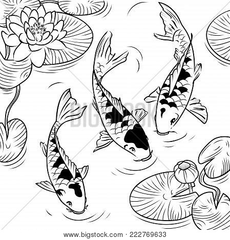 Three koi-fish and water-lilys on a white background