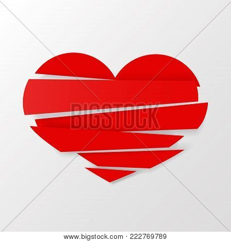 Red Stripes broken heart vector on white background. Could be used as icon, sign, symbol, flag, sticker, badge. Vector icon. Stock clipart.