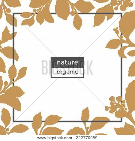 Vector floral template of silhouette golden mate branches. Illustration  on white background. Realistic botanical drawing leaves, berry and flowers. Organic. Sketch design natural motifs for card. Eps