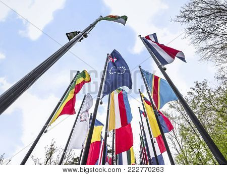 Zurich, Switzerland - May 2017: Avenue With The Flags Of All Countries-members At The Official Fifa