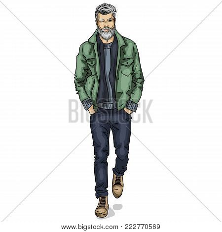 Vector man model dressed in jeans, pullover, jeans jacket, and anb boots