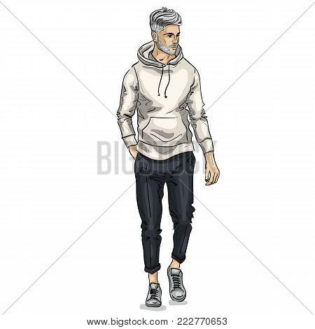 Vector man model dressed in pants, hoody and sneakers