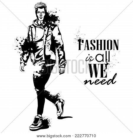 Vector man model dressed in pants, shirt, sneakers and suglasses, splash stile. Fashion is all we need
