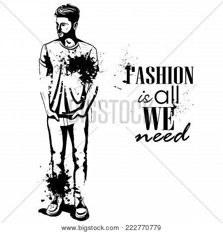 Vector man model dressed in jeans, shoes and t-shirt, splash stile. Fashion is all we need