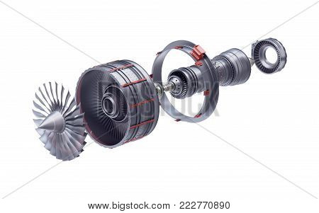 3d render of jet engine in parts isolated on white background.