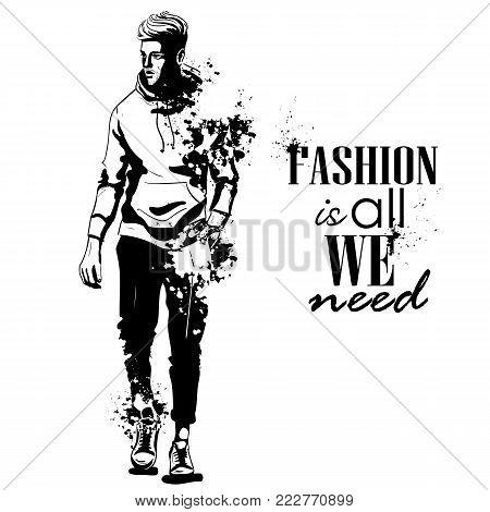 Vector man model dressed in pants, hoody and sneakers, splash stile. Fashion is all we need