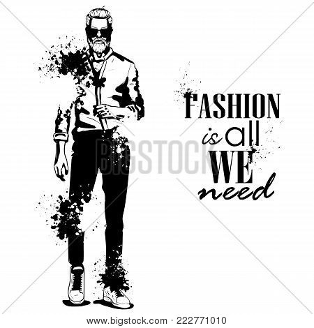 Vector woman and man models dressed in beach style, splash stile. Fashion is all we need