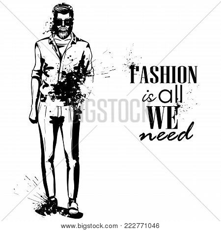 Vector man model dressed in pants, t-shirt and moccasins, splash stile. Fashion is all we need