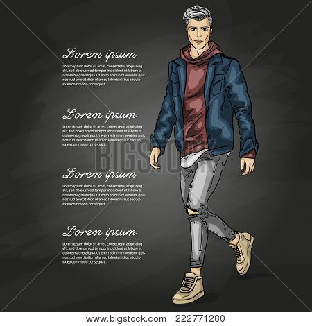 Vector man model dressed in jeans, hoody, jeans jacket and sneakers on a dark background