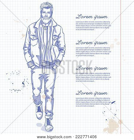 Vector man model dressed in jeans, pullover, jeans jacket, and anb boots on a notebook page