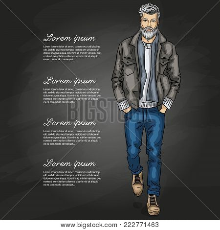Vector man model dressed in jeans, pullover, jeans jacket, and anb boots on a dark background