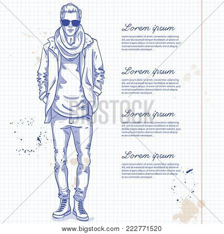 Vector man model dressed in jeans, t-shirt, jacket, sneakers, scarf and sunglasses on a notebook page