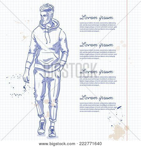 Vector man model dressed in pants, hoody and sneakers on a notebook page