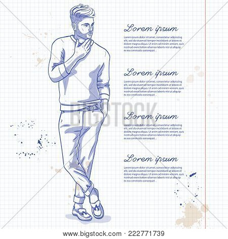 Vector man model dressed in pants, pullover and loafers on a notebook page