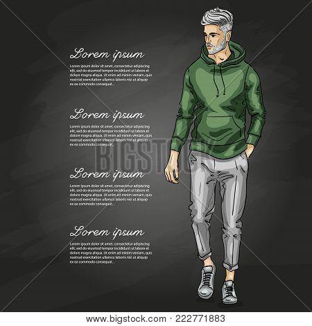 Vector man model dressed in pants, hoody and sneakers on a dark background
