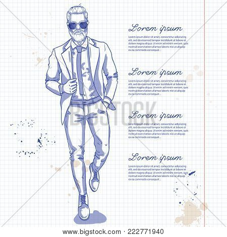Vector man model dressed in pants, shirt, jacket and shoes on a notebook page