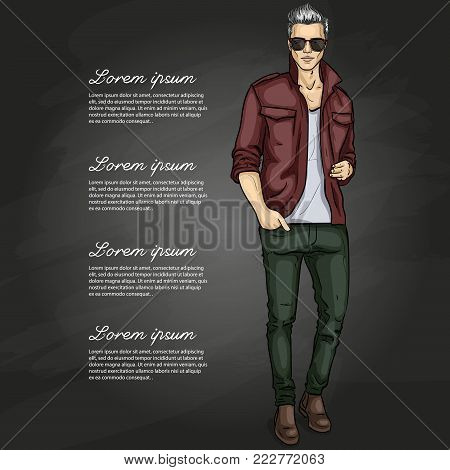 Vector man model dressed in pants, shirt, t-shirt, shoes and sunglasses on a dark background