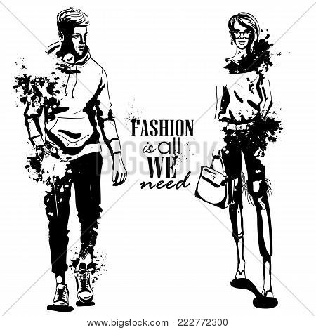 Vector woman and man fashion models, spring collage stylish outfit, splash stile. Fashion is all we need